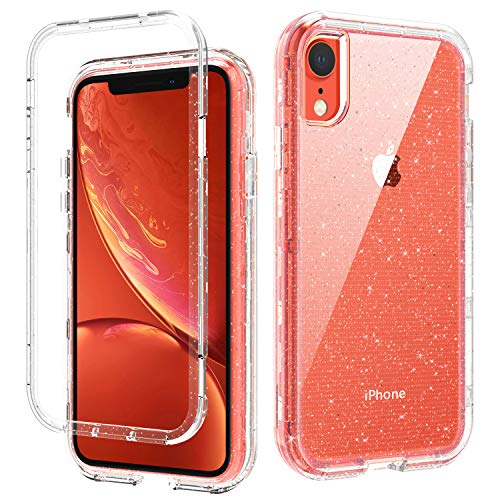 DOMAVER iPhone XR Cases, Clear iPhone XR Case Three Layer Heavy Duty Hybrid Hard PC Flexible TPU Bumper Shockproof Phone Case Cover Transparency iPhone XR Protective Case with Glitter Bling Design