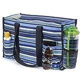 All Purpose Utility Tote Bag (Blue & Green Striped)