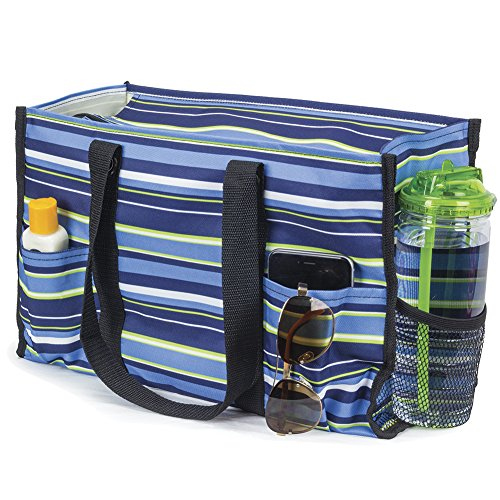 All Purpose Utility Tote Bag (Blue & Green - Zip Top Tote