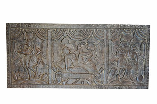 A HYMN OF JOY TO LIFE.Love Vintage Headboard Hand Carved Kamasutra Design Art, Wall hanging Rustic Decor by Mogul Interior