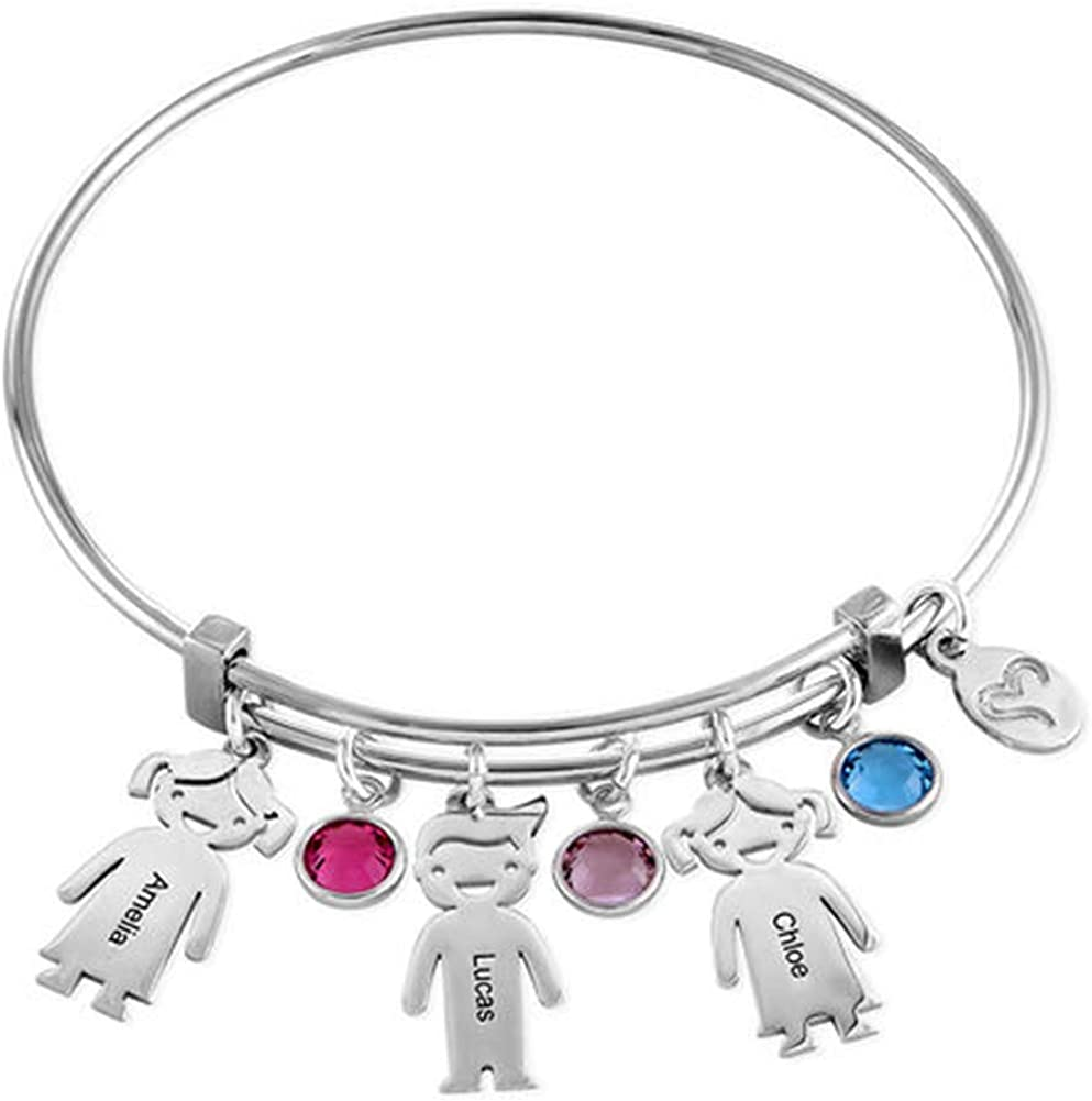 Silver DARUIRONG 925 Sterling Silver Personalized Bracelet with Kids Charm,Customized with kids Names,Gift for Mother