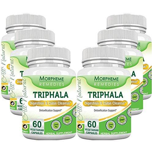 Morpheme Triphala 500mg Extract 60 Veg Caps - 6 Bottles by Morpheme Remedies
