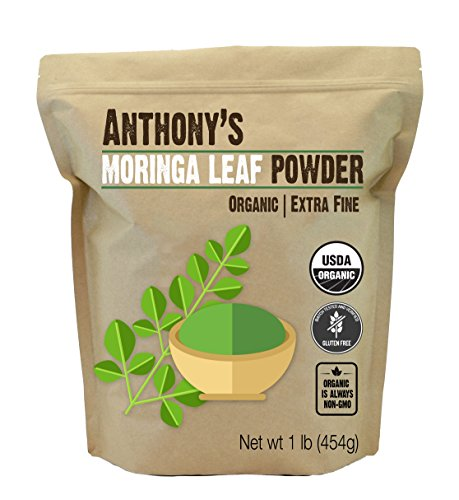 Anthony's Organic Moringa Leaf Powder, 1lb, Gluten Free, Non GMO, Vegan Friendly