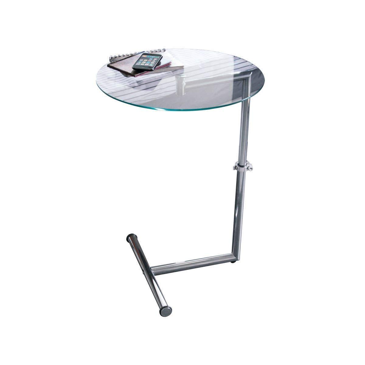PureDay Tavolino ad altezza regolabile in metallo con superficie di vetro indurito rotondo 46 cm Ø color argento