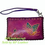 Hand Made Leather Change/coin Purse, Rectangle Shape, Butterfly Embossed, a Mini Wristlet Bag, Collectible (VioletRed), Bags Central
