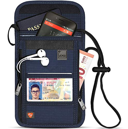 Lewis N. Clark RFID Blocking Stash Neck Wallet, Travel Pouch + Passport Holder for Women & Men, Navy