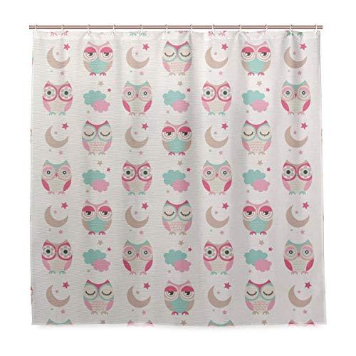 YOLIKA Shower Curtain, Owls Stars Moon Patterns in Feminine Soft Colors Symmetric Design Artwork Customized Bathroom Shower Curtain Set with Hooks, W72 xH79 (Feminine Owl)