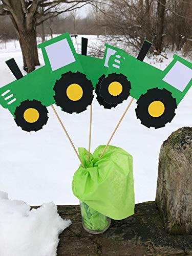 - Farm Green Tractor Table Topper centerpiece set of 3