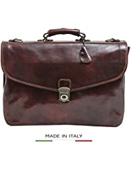 Luggage Depot USA, LLC Alberto Bellucci Italian Leather Triple Compartment Messenger Briefcase, Brown Briefcase...