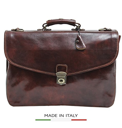 Luggage Depot USA, LLC Alberto Bellucci Italian Leather Triple Compartment Messenger Briefcase, Brown Briefcase, Brown
