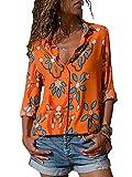 GARYOB Womens V Neck Chiffon Striped Blouses Floral Print Button Down T-Shirts Long Sleeve Splicing Contrast Tops (S-5XL)