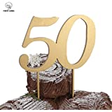 PAPALONG Design 50 Birthday Wood Cake Topper For 50th Birthday 50th wedding Anniversary Retired Party Decoration