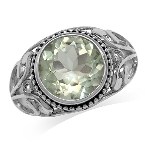 4.26ct. Natural Green Amethyst 925 Sterling Silver Filigree Swirl Ring Size 9 ()