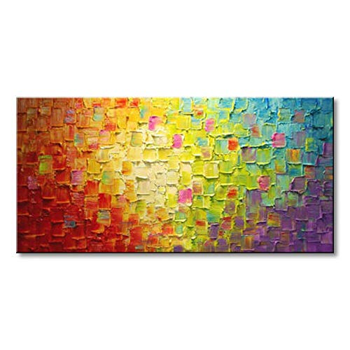 Seekland Art Hand Painted Texture Oil Painting on Canvas Abstract Wall Art Deco Contemporary Artwork Framed Ready to Hang (4824 ()