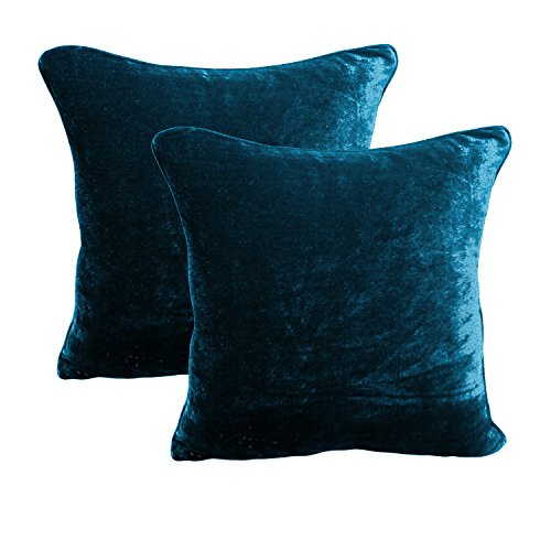 BRIGHTLINEN 2Pcs Cushion Cover(Teal, 18'' X 18' 18Inches x 18Inches) 100% Cotton Velvet Hotel Quality 600 Thread Count