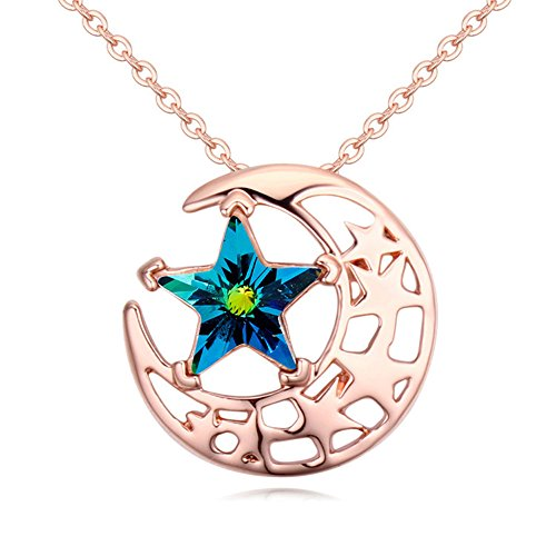 Gorgeous Jewelry Rose Gold Plated Bright Stars and Moon Combination Color Swarovski Element Crystal Pendant (Trike Canvas)