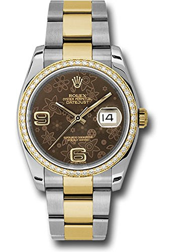 Rolex Datejust 36MM 36MM Stainless Steel Case, 18K Yellow Gold Bezel Set with 52 Brilliant-Cut Diamonds, Brown Floral Dial, Arabic Numeral, and Stainless Steel and 18K Yellow Oyster Bracelet.