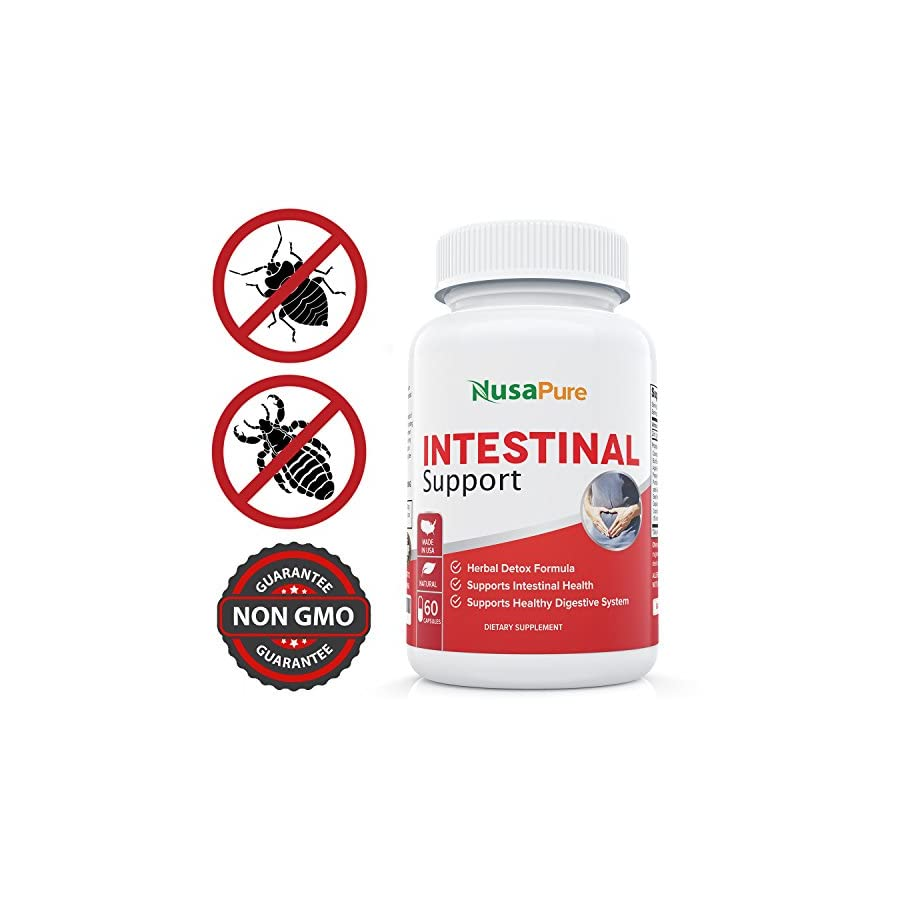 Intestinal Support for Humans (NON GMO & Gluten free) with Wormwood, Garlic, Black Walnut Hull & More: 60 Capsules 100% Money Back Guarantee Order Risk Free!
