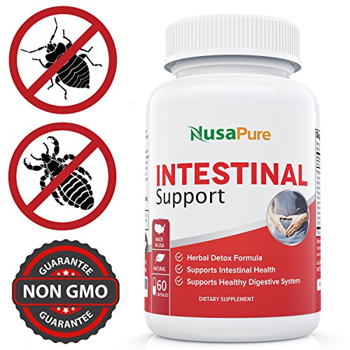 - Intestinal Support for Humans (Non-GMO & Gluten Free) with Wormwood, Garlic, Black Walnut Hull & More: 60 Capsules - 100% Money Back Guarantee - Order Risk Free!