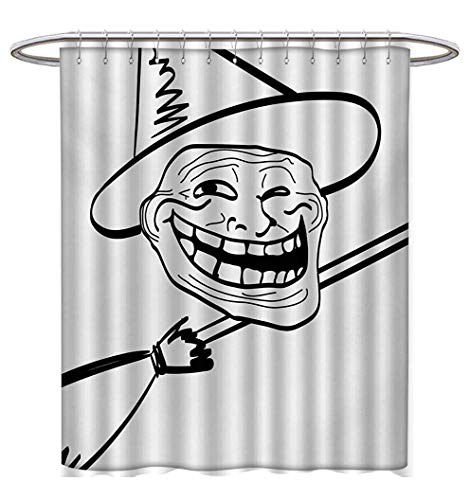 Humor Shower Curtains Fabric Halloween Spirit Themed Witch Guy Meme LOL Joy Spooky Avatar Artful Image Print Bathroom Decor Sets with Hooks W72 x L72 Black and White -