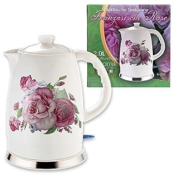 Elektrischer Keramik Wasserkocher schnurlos 2Liter Französische Rose