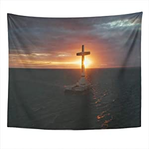 Weolucky 0 Tapestry Wide Wall Hanging Polyester Dorm Art Bedrooms Living Room Beach Blankets Curtains Design Catholic Cross in Sunken Cemetery The Sea at Sunset Aerial Drone Colorful 50x60 Inch