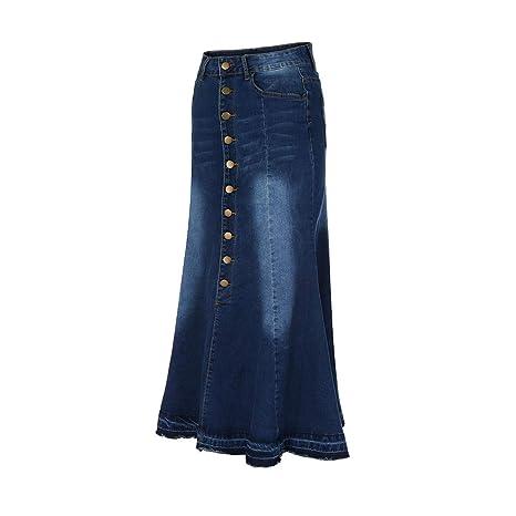 ... Moda para Mujer Botón de Cintura Alta Largo Bolsillo Delantero Falda de Cola de Pescado Faldas de Mezclilla Maxi Absolute: Amazon.es: Ropa y accesorios