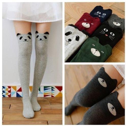 Huitao Women's Fashion Cute Cat Bear Panda Long Socks Thigh High Casual Knit Cotton Hosiery Leg Warmer Boot Stocking Light gray