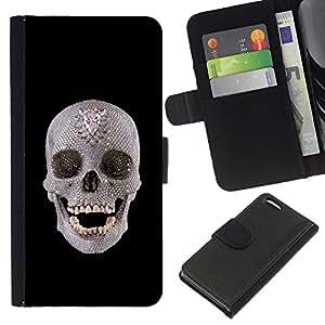 Apple iPhone 5C , la tarjeta de Crédito Slots PU Funda de cuero Monedero caso cubierta de piel ( Skull Crystal Ancient Art Archeology Head Teeth)