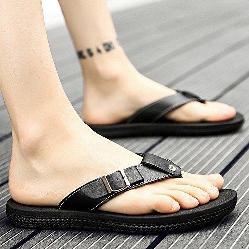 XIAOLIN Zapatillas de verano coreano sandalias y zapatillas de los hombres Zapatillas de exterior deslizamiento marea baja gruesa deslizamiento sandalias zapatillas (tres colores para elegir) (tamaño  01