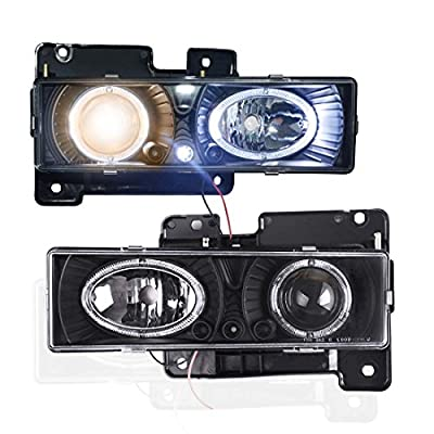 Winjet WJ10-0002-04 Black Housing/Clear Lens Projector Headlight with LED Halo (Chevy/GMC)
