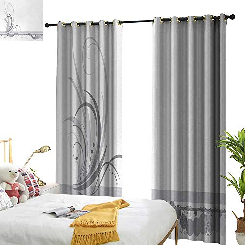 Border Dot Swirl (Anyangeight Grey,Decorative Curtains for Living Room,Ornament Border with Artistic Swirls Dots in Rococo Style Renaissance Details,W120 xL108,Suitable for Bedroom Living Room Study, etc.)