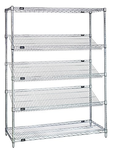 Quantum Storage Systems 2448SL6C 5-Tier Wire Shelving Unit with 3 Slanted Shelves, Stationary, Chrome Finish, 400 lb. load capacity, 48