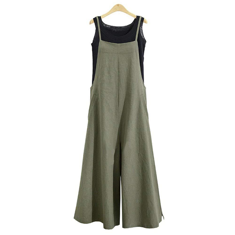 Oubaybay Cute Jumpsuits Women Casual Sleeveless Loose Wide Legs Pants Romper Green L