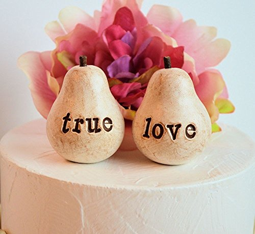 Pear Wedding Cake - Wedding cake topper ... Rustic Pair of Pears... vintage white true love pears ... perfect pair