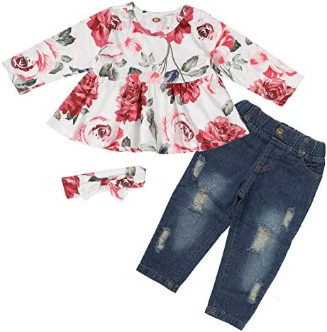 Girls Clothes Outfits Cute Toddler Girl Floral Long Sleeve Pant Set Flower Ruffle Top for Baby Girl