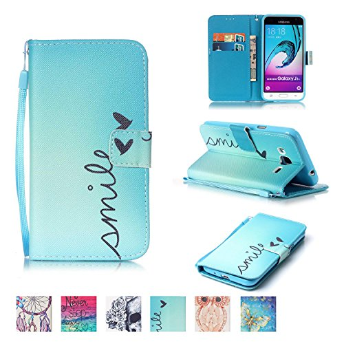 Galaxy J3 2015 Case, Firefish Kickstand Flip [Card Slots] Wallet Cover Double Layer Bumper Shell with Magnetic Closure Strap Protective Case for Samsung Galaxy J3 2015