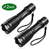 LED Torch Flashlight, Wowlite 1600 LM Ultra Bright - CREE XML T6 Pocket Torch with 5 Light Modes and Adjustable Focus for Emergency Camping Hiking (2PACK)