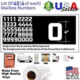 4'' White Color Custom Mailbox Numbers, Lot of 40 (4 of each number form 0 to 9) 4 inch tall, white Modern Vinyl Mailbox Numbers,Doors,Tool Box,Locker,Car,Truck,Address Decal Stickers (Konkretika Bold)