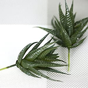 5 pcs Artificial Succulents Aloe Vera Flower Real-Like Mini Artificial Green Plants for Living Room Bedroom Home Garden Party Decor Indoor Decoration, Vase Not Included 5