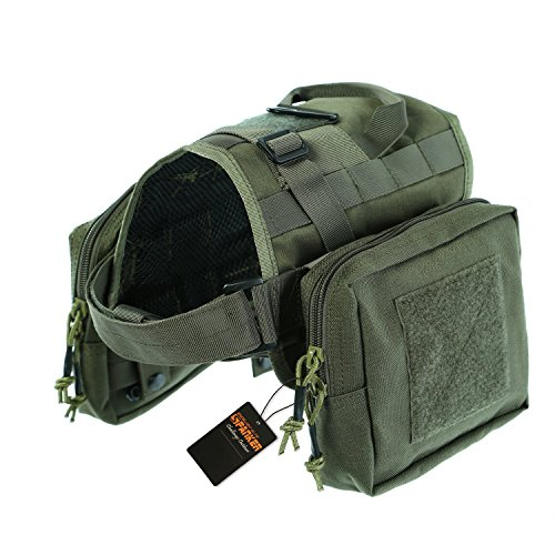 Pettom Military Tactical Dog Training Molle Compact Harness 1000D Nylon Pet Vest Kit with Detachable Pouches (Grey Green,L)