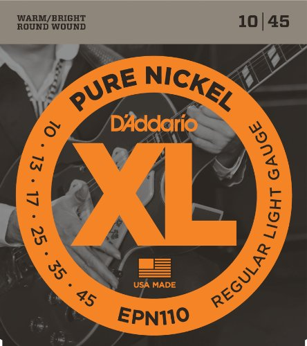 Guitar Electric Wrap Nickel Pure - D'Addario EPN110 Pure Nickel Electric Guitar Strings, Regular Light, 10-45