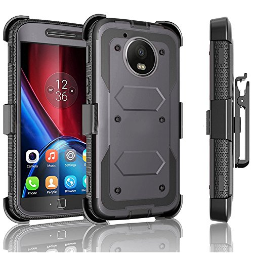 Moto G5 Plus Case / Moto G Plus (5th Gen 2017) Jwest Heavy Duty Full-Body Rugged Holster Armor Case & Belt Swivel Clip [ Kickstand ] WITHOUT Screen Protector for Motorola Moto G5 Plus - Drak Grey (Boost Mobile Cases Moto G)