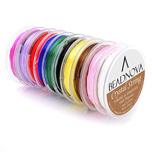 BEADNOVA 1mm Elastic Stretch Polyester Crystal String Cord for Jewelry Making Bracelet Beading Thread (12m/ Roll, Total 10 Rolls Mixed Color) (Jewelry Beading Supplies)