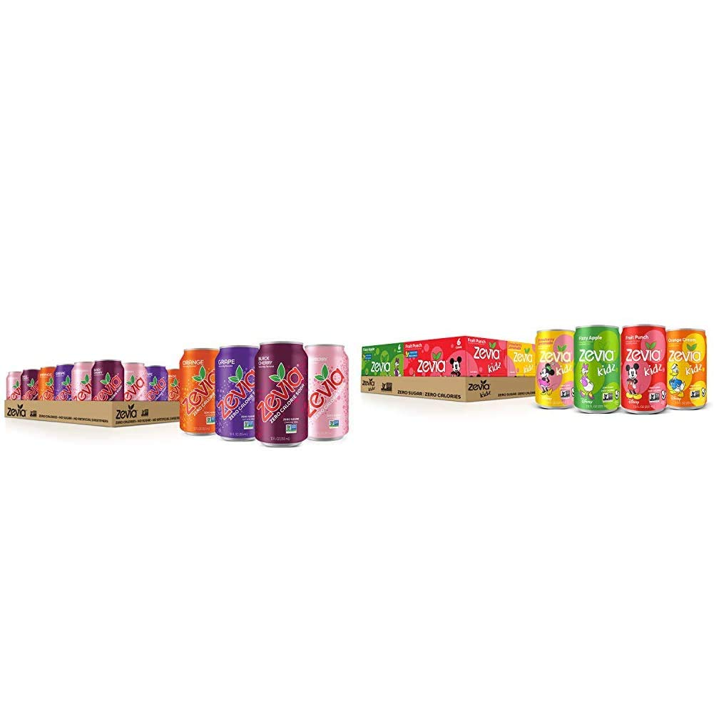 Zevia Zero Calorie Soda, Fruity Variety Pack, Naturally Sweetened Soda, (24) 12 Ounce Cans; Strawberry, Orange, Black Cherry & Kidz Sparkling Drink, Variety Pack, 7.5 Ounce Cans (Pack of 24)