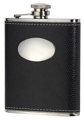 Orton West Mens 6oz Captive Top Hip Flask - Black