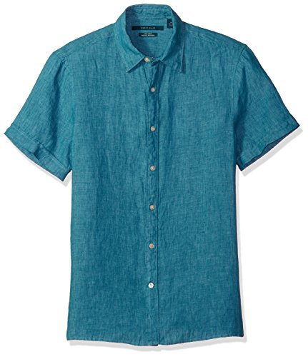 - Perry Ellis Men's Short Sleeve Solid Linen Shirt, Blue Coral-4chw7061, Large