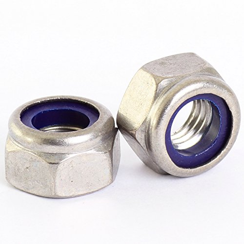 Bolt Base 6mm A2 Stainless Steel Nylon Insert Nyloc Nylock Lock Nuts M6 X 1.0mm Pitch - 5