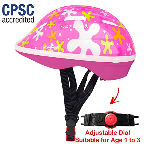 SG Dreamz Toddler Helmet - Adjustable from Infant to Toddler Size, Ages 1 to 3 - Durable Kids Bicycle Helmets with Fun Sporty Design Boys and Girls Will Love - CSPC Certified for Safety (SPLASHPINK) ()