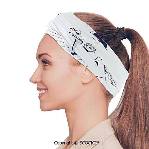 SCOCICI Stretch Soft and Comfortable W9.4xL18.9in Headscarf Headbands Young Beautiful Woman Relaxing on The Bathroom with Glass of Wine Drawing Art,Dark Blue Red White Perfect for Running, Working O